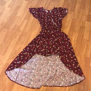Burgundy Floral Romper Dress Size 14/16 Nwot 💕